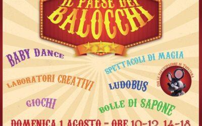 Il PAESE DEI BALOCCHI – 6° edizione  – Domenica 1 agosto 2021  – Parco Comunale Maria Teresa Marchini
