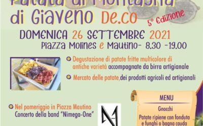 Festa della Patata di Montagna  -5° edizione  – domenica  26 settembre 2021