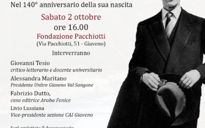 """Il """"Profe"""" Monti a Giaveno – nel 140° Anniversario della nascita – sabato 2 ottobre 2021"""